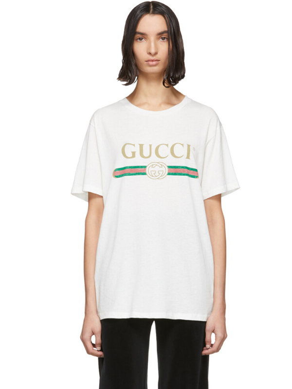 Gucci White Vintage Logo T-Shirt. Image via Ssense.