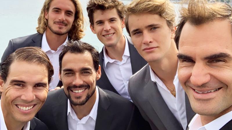 Roger Federer, pictured here with Rafael Nadal, Stefanos Tsitsipas, Fabio Fognini, Dominic Thiem and Alexander Zverev.