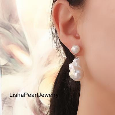 Baroque pearl earring Large baroque pearl Holiday gift earring Big pearl earring
