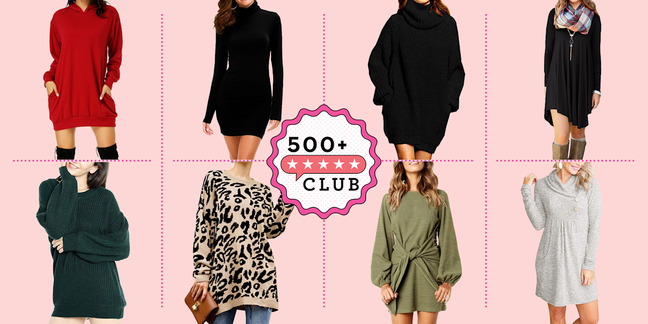 """<p><em>The 500+ Club helps take the guesswork out of shopping on Amazon. The product experts at </em>Good Housekeeping<em> have vetted the below products to ensure they're worth your money. Each one boasts at least 500 reviews and a minimum 4-star rating from real, verified reviewers, so you can trust that you're purchasing products that actually work, according to users and experts.</em></p><p>And just like that, it's fall. It's time to trade in our summer shorts for something a little warmer for the chilly weather. Luckily for us, <a href=""""https://www.goodhousekeeping.com/beauty/fashion/g33275801/cute-fall-outfits/"""" target=""""_blank"""">fall outfits</a> are something to look forward to. <a href=""""https://www.goodhousekeeping.com/beauty/fashion/g34016334/best-selling-sweaters-amazon/"""" target=""""_blank"""">Chunky sweaters</a>, <a href=""""https://www.goodhousekeeping.com/beauty/fashion/g28069983/fall-boots/"""" target=""""_blank"""">brown riding boots</a>, and <a href=""""https://www.goodhousekeeping.com/beauty/fashion/g28213834/best-fall-jackets-for-women/"""" target=""""_blank"""">fall jackets</a> make fall festivities like pumpkin picking and munching on cider donuts that much more magical. </p><p><a href=""""https://www.goodhousekeeping.com/clothing/g27816744/best-fall-dresses/"""" target=""""_blank"""">Sweater dresses</a> make the <a href=""""https://www.goodhousekeeping.com/clothing/g33473194/transitional-clothing-summer-to-fall/"""" target=""""_blank"""">best transitional pieces</a> because they keep you warm enough for cold autumn mornings yet cool and breezy for sunny afternoons. They also solve the problem of figuring out to what to wear for a dressier occasion, whether it's for work or brunch with the girls. See below for the best sweater dresses you can find on Amazon, which are adorably inexpensive and can come right to your door with 2-day prime shipping!</p>"""