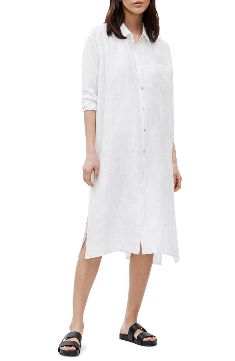 Eileen Fisher Classic Collar Long Sleeve Silk Shirtdress. Image via Nordstrom.