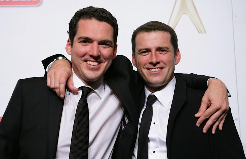 Peter Stefanovic and Karl Stefanovic pose in the awards room during the 2011 Logie Awards at Crown Palladium