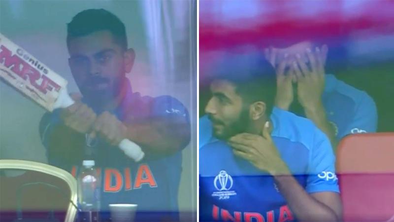 Virat Kohli tested his bat for noise amid visible frustration. Pic: ICC