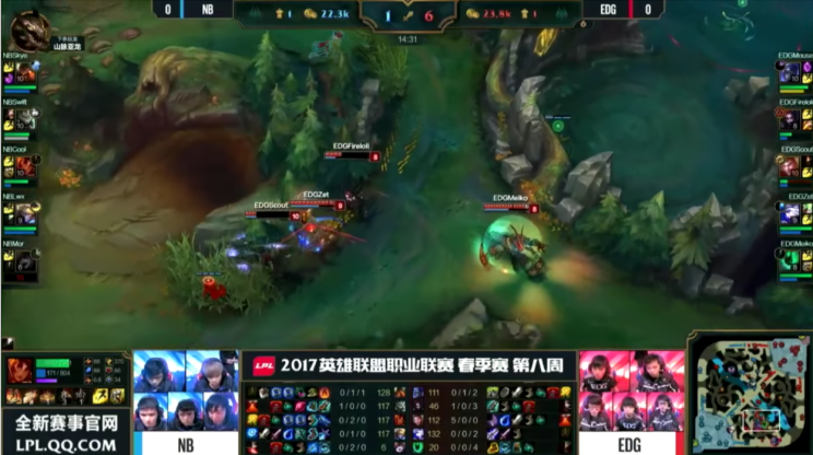 EDward Gaming take a fight with disadvantages, despite a kill lead (lolesports)