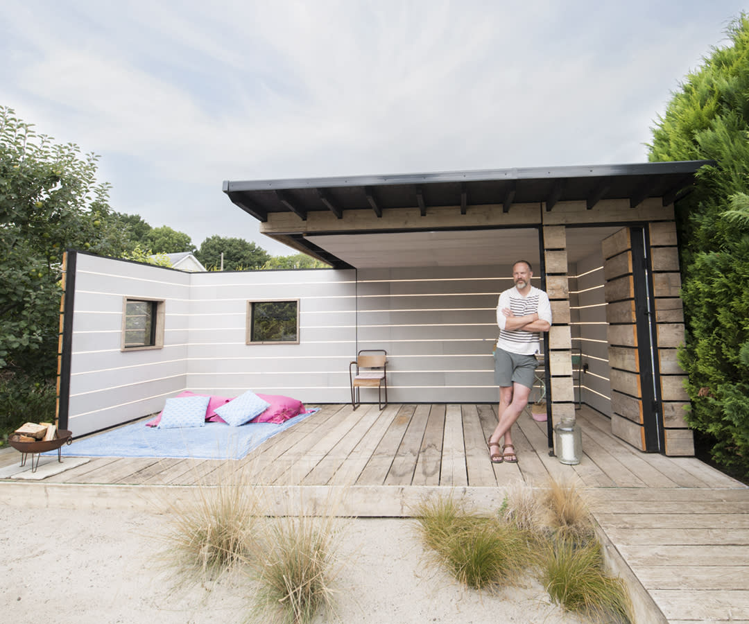 <p>UNIQUE:<br />Scaffold Board Summer House – owned by Scott Stickland in Thruxton, Hampshire (Picture: Shed of the Year) </p>