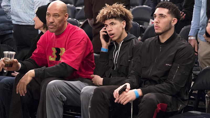 LaVar Ball with sons LaMelo and LiAngelo. (Photo by Matteo Marchi/Getty Images)