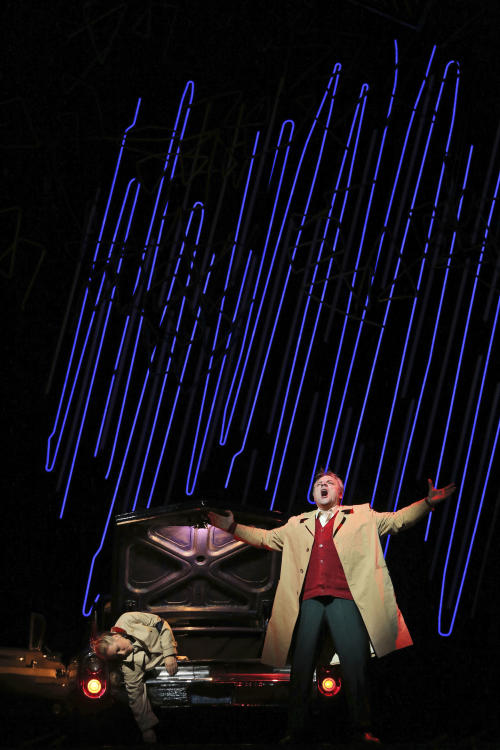 In this Friday, Jan. 25 2013 photo, Zeljko Lucic, right, performs the title roll alongside Diana Damrau during the final dress rehearsal of Giuseppe Verdi's Rigoletto at the Metropolitan Opera in New York. (AP Photo/Mary Altaffer)