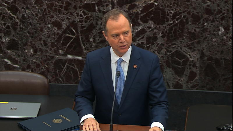 In this image from video, House impeachment manager House Intelligence Committee Chairman Adam Schiff, D-Calif., speaks as the impeachment trial against President Donald Trump begins in the Senate at the U.S. Capitol in Washington, Thursday, Jan. 16, 2020. (Senate Television via AP)