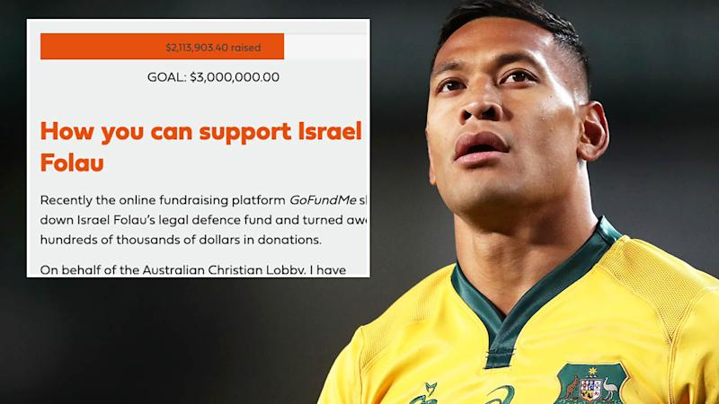 The fundraiser for Israel Folau has made over $2 million, but is set to be stopped. (Photo by Matt King/Getty Images)