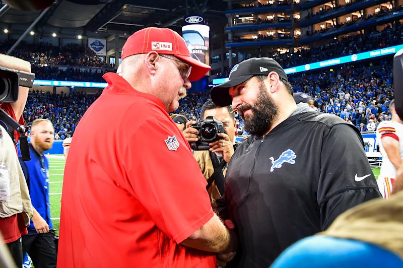 DETROIT, MI - SEPTEMBER 29: Kansas City Chiefs head coach Andy Reid and Detroit Lions head coach Matt Patricia shake hands following the Kansas City Chiefs 34-30 win over the Detroit Lions on Sunday September 29, 2019 at Ford Field in Detroit, MI. (Photo by Steven King/Icon Sportswire via Getty Images)