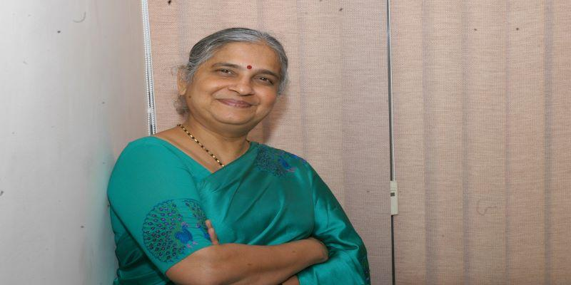 Sudha Murthy, wife of Infosys chairman, NR Narayana Murthy, Writer and Chairperson of the Infosys foundation, Philanthropic Organisation, poses at her residence in Bangalore, India.