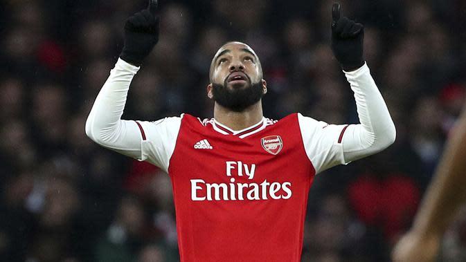 Striker Arsenal Alexandre Lacazette. (Yui Mok/PA via AP)