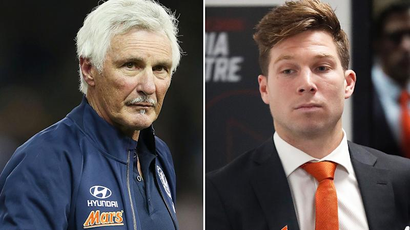 Mick Malhouse, pictured left, has slammed the AFL after Toby Greene, right, had his suspension upheld.