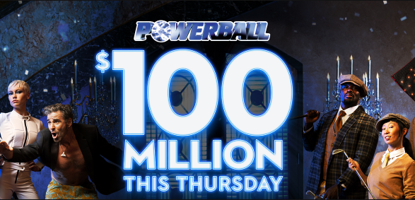 Graphic of the $100 million Powerball lotto jackpot for Thursday night.