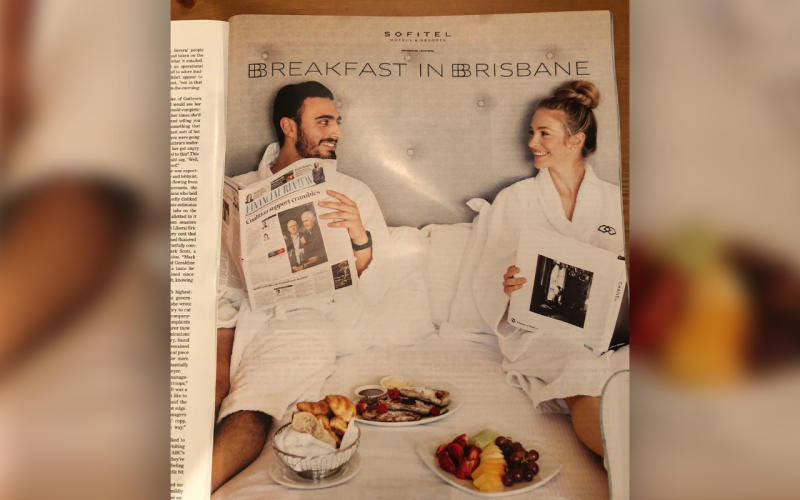 The Sofitel Hotel advertisement sparked outrage among social media users, who questioned why the man had to be reading the Financial Review and his partner a Chanel coffee table book.