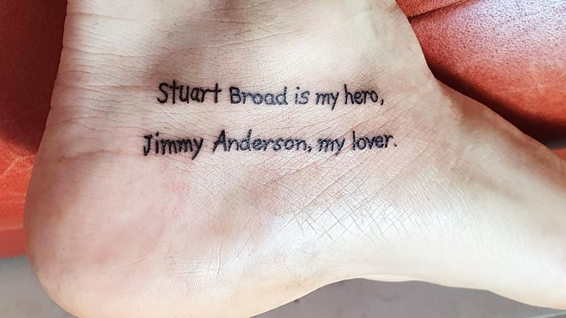 A cricket-mad Reddit user has had the names of English paceman Stuart Broad and Jimmy Anderson tattooed on his foot, after losing a bet that Australia would win the Ashes. Picture: Reddit
