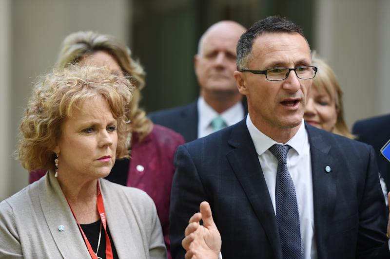 Greens Leader Dr Richard Di Natale (right) with Medicinal cannabis campaigner Lucy Haslam (left) during a press conference for cross party support on medicinal cannabis at Parliament House. Source: AAP Image/Dean Lewins