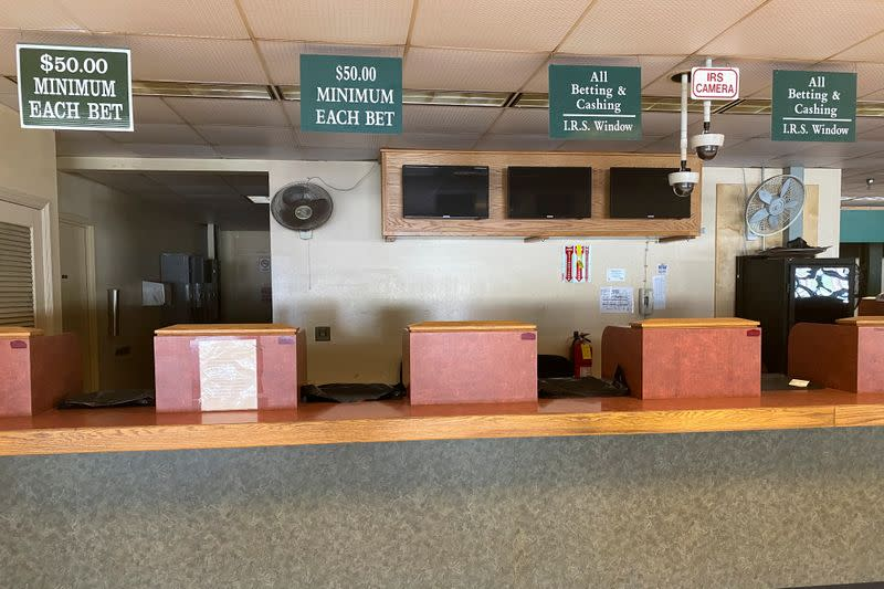 Closed betting stations lie empty at Belmont Park ahead of the 152nd running of the Belmont Stakes