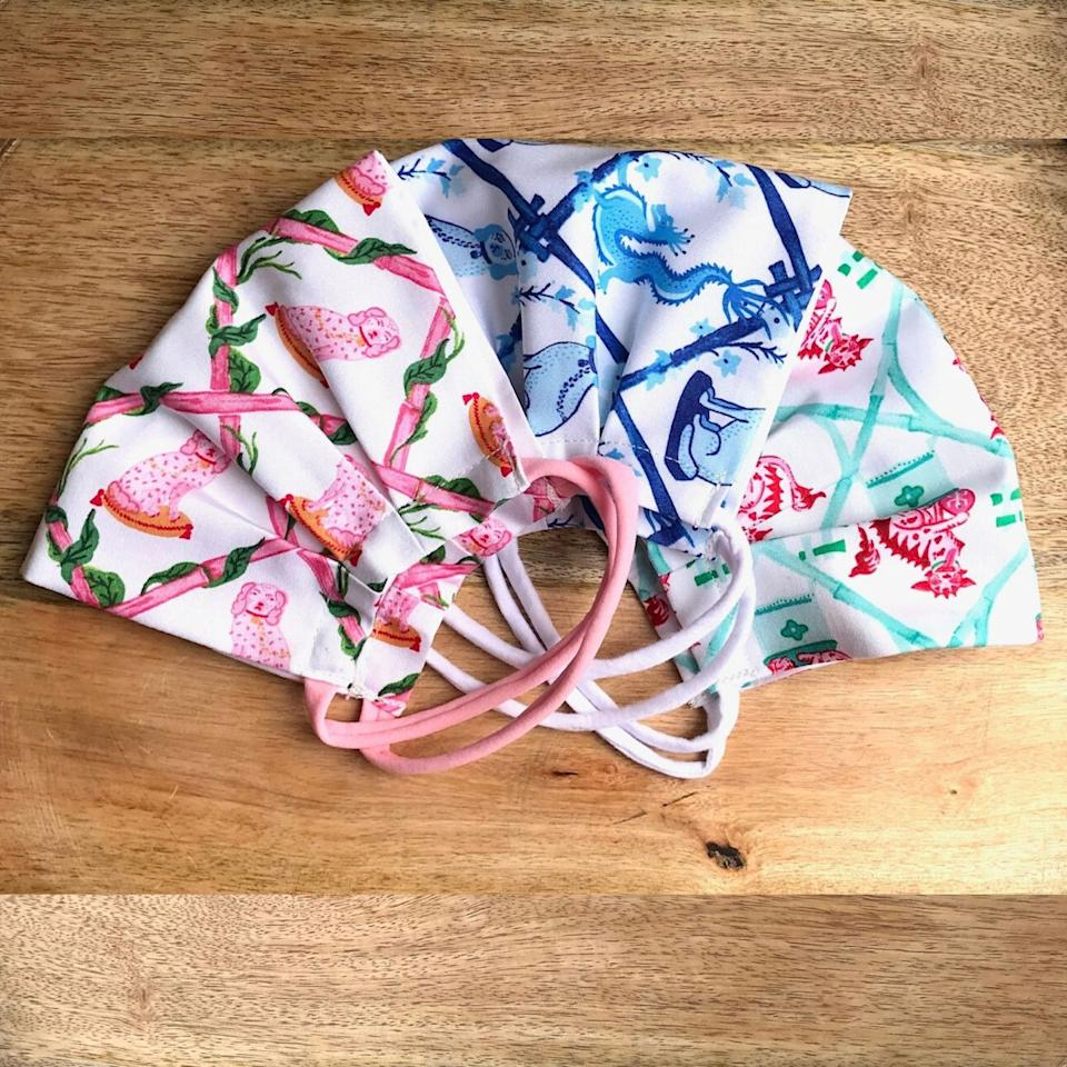 """<p><strong><a class=""""body-btn-link"""" href=""""https://www.littlegoodall.com/collections/cotton-masks-for-children/products/copy-of-1-for-1-program-childrens-cotton-mask-trio-in-willa-heart-prints-2"""" target=""""_blank"""">BUY NOW</a></strong></p><p><strong>Ladies Cotton Mask Trio in Willa Heart Prints,<em> </em>$40</strong></p><p>Little Goodall has masks for adults and kids, plus a one-for-one program. For every mask purchased, the company will donate an adult mask or a child mask to a mom or kid in need.</p>"""