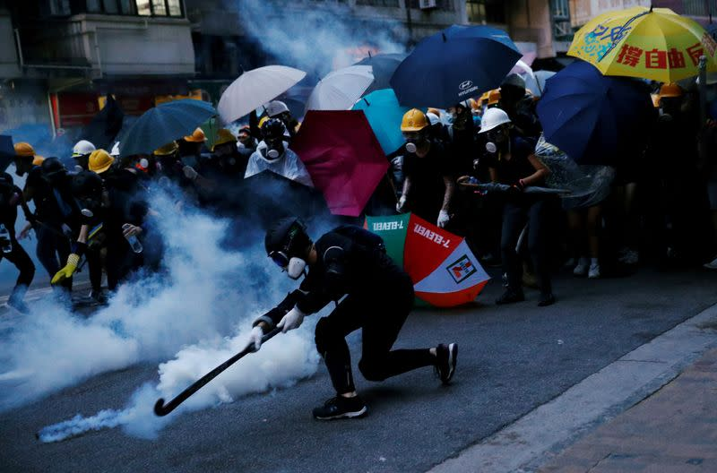 FILE PHOTO: Hong Kong democracy activists march in Hong Kong's Central and Western districts