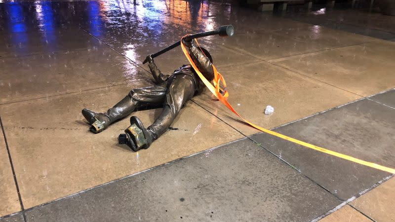 One of the two Confederate statues toppled in Raleigh, North Carolina