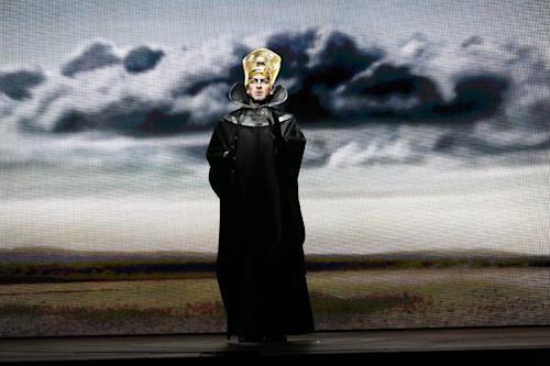 "In this April 12, 2013 photo provided by the New York City Opera, Wayne Tigges as Faraone (Pharaoh) performs during the New York City Opera's final dress rehearsal of Rossini's rarely performed ""Mose in Egitto (Moses in Egypt),"" at the City Center in New York. (AP Photo/New York City Opera, Carol Rosegg)"