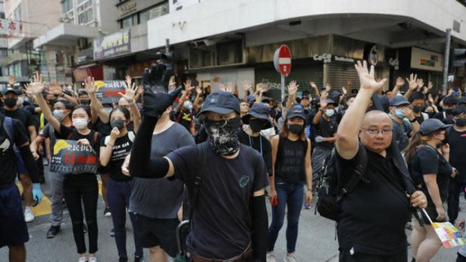 Demo pro-demokrasi Hong Kong dimulai daat perayaan HUT ke-70 RRC (Vincent Thien / AP PHOTO)