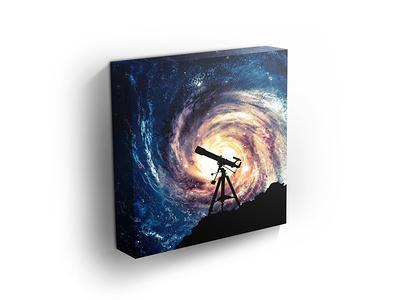 Star Field Galaxy Light Beautiful Sky Astrology Decor Space Art Silhouette of Telescope Science Art Mysterious Art  Home Decor