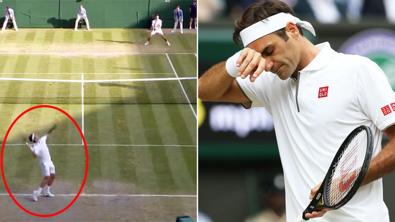 Roger Federer served down the middle on match point, rather than pushing Novak Djokovic out wide. Image: Wimbledon/Getty