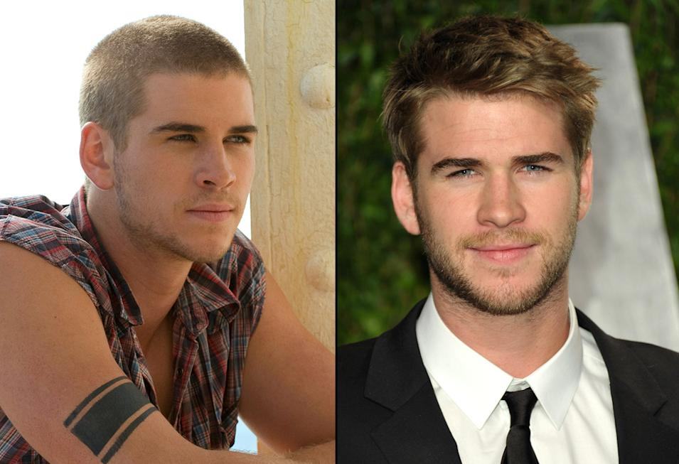 then and now the hunger games cast Liam Hemsworth
