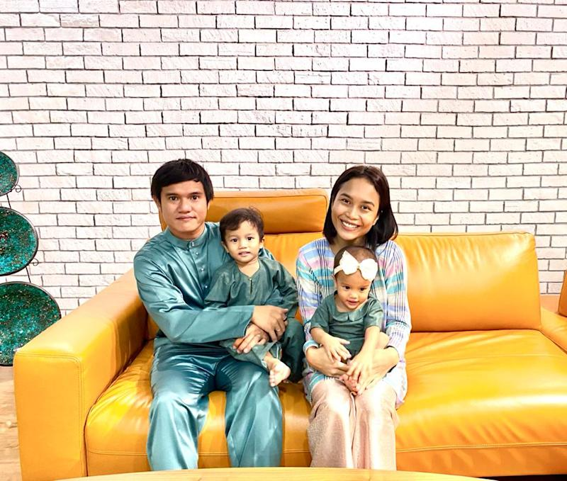 Reza Arif (left) and his wife Syasya Ahmad with their children Ryan Reza and Arya Reza.