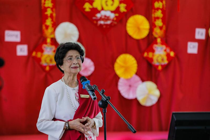 Tun Dr Siti Hasmah Mohamad Ali (centre) speaks during the Chinese New Year celebration at King George V Old Folks' Home Kuala Lumpur on January 28, 2020. — Picture by Hari Anggara