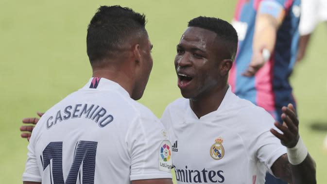 Selebrasi pemain Real Madrid Vinicius saat melawan Levante (AP)