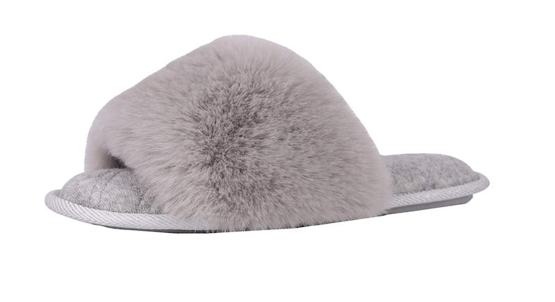 LongBay Ladies' Fluffy Faux Fur Open Toe Memory Foam House Slipper