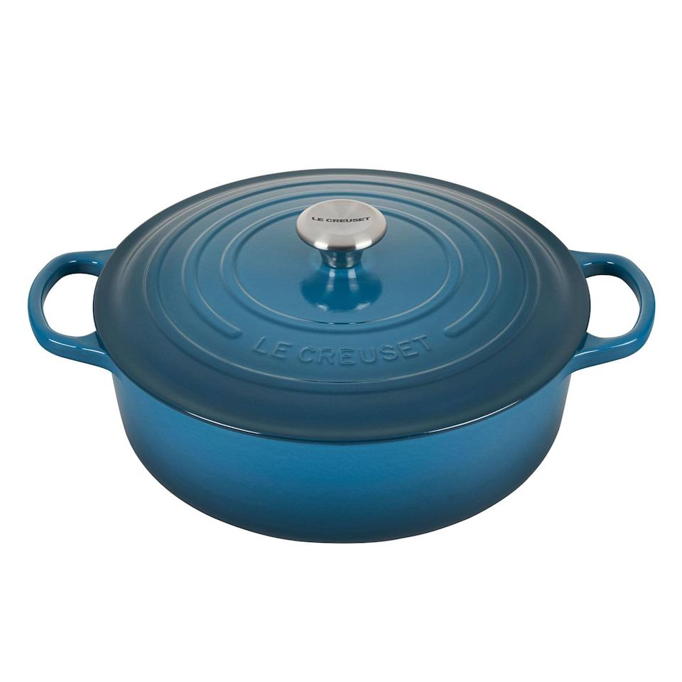 """<p><strong>Le Creuset </strong></p><p>surlatable.com</p><p><a href=""""https://go.redirectingat.com?id=74968X1596630&url=https%3A%2F%2Fwww.surlatable.com%2Fpro-3495793-cass-675qt-round-wide-oy%2FPRO-3495793.html&sref=https%3A%2F%2Fwww.goodhousekeeping.com%2Flife%2Fmoney%2Fg34145489%2Fsur-la-table-anniversary-sale-2020%2F"""" target=""""_blank"""">Shop Now</a></p><p><strong><del>$379.95</del> $249.96 (37% off)</strong></p><p>Le Creuset is the gold standard of cookware, and you can currently score over $100 off its beloved Dutch Oven. Not only is this option perfect for roasts and casserole, but it's colorful enamel exterior. also makes this one piece of cookware you'll actually <em>want </em>to show off.<em></em></p>"""