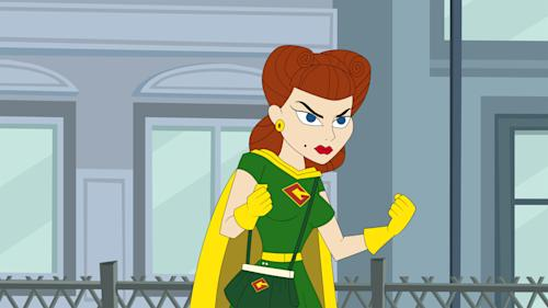 """This publicity image released by Hulu shows Gadget Gal, voiced by Paula Pell, in a scene from """"The Awesomes."""" The animated series premieres Aug. 1, on Hulu. (AP Photo/Hulu)"""