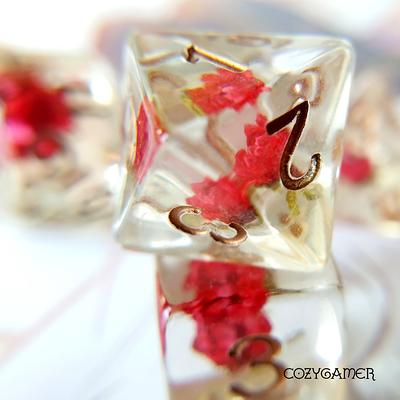Hidden Flower DnD Dice Set D/&D dice Table Top Role Playing Real Dried flowers in resin glitter Dungeons and Dragons Polyhedral dice