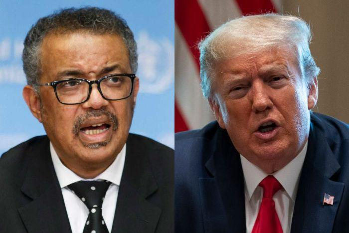 On the left, Dr Tedros. On the right, Donald Trump