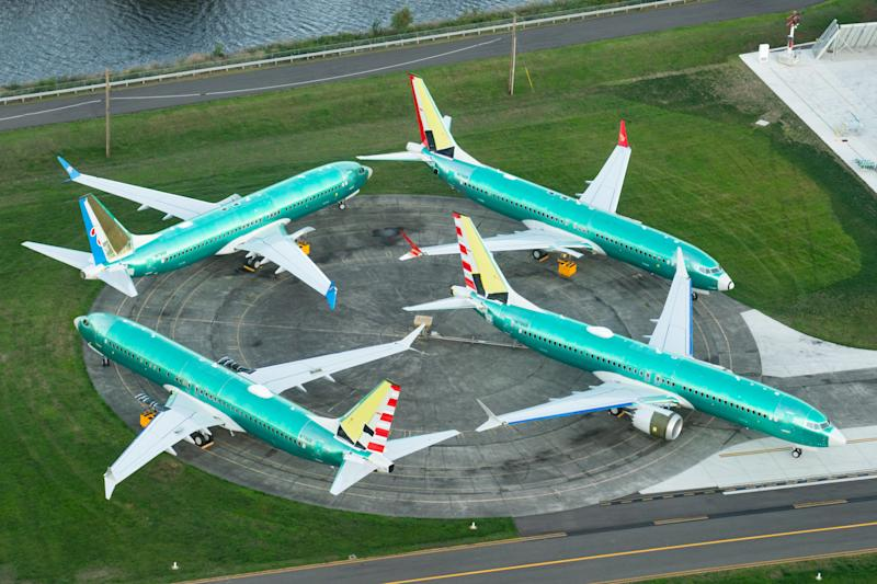 Four Boeing 737 MAX jets seen at Boeing's manufacturing facility in Seattle, US, last year.