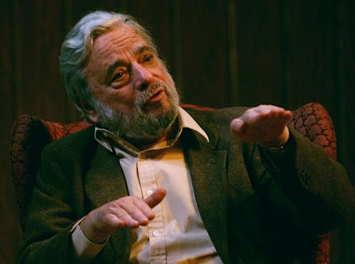 "FILE - In this April 12, 2004 file photo, Stephen Sondheim gestures during a gathering at Tufts University in Medford, Mass. Sondheim has won one of the top honors in the arts world, the Edward MacDowell Medal for lifetime achievement. The MacDowell Colony, the New Hampshire-based artist residency program, announced Sunday that Sondheim has received an award that has been given to Robert Frost and Georgia O'Keeffe among others. The 83-year-old Sondheim is known for such classic musicals as ""A Little Night Music"" and ""Into the Woods."" (AP Photo/Charles Krupa, File)"