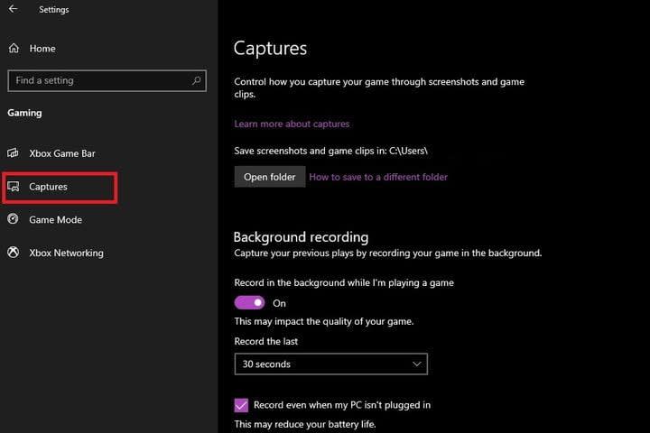 Xbox Game Bar Captures settings screen
