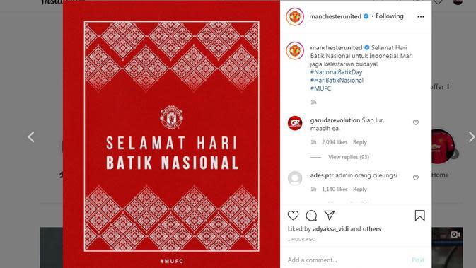 Manchester United (MU) mengucapkan selamat Hari Batik Nasional kepada warga Indonesia. (Instagram)