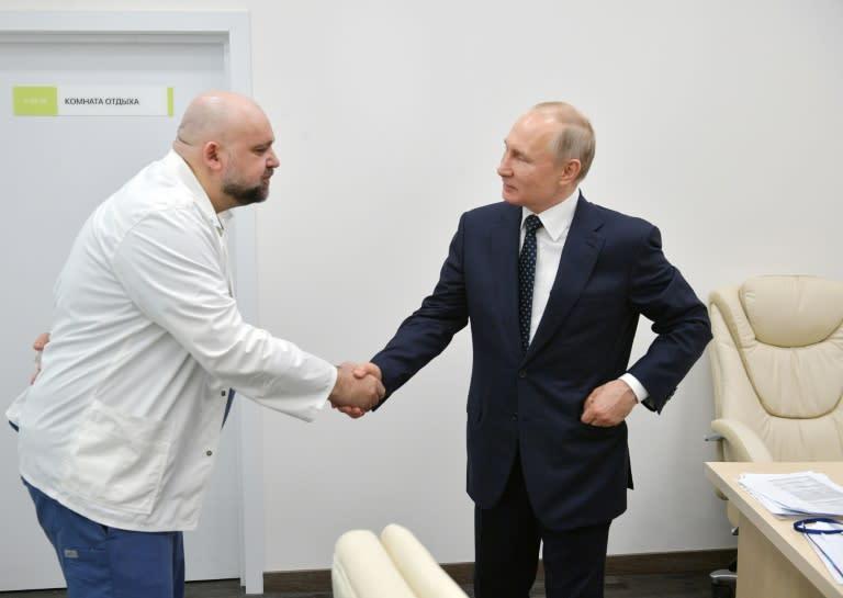 Putin met Denis Protsenko, the head of Moscow's new hospital treating coronavirus (COVID-19) patients, during his visit