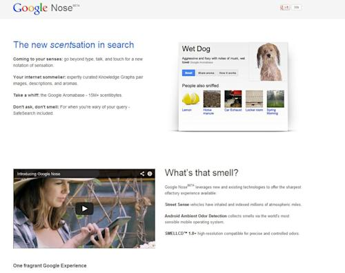 "This frame grab image released by Google shows the Google Nose site, a parody site in celebration of April Fools' Day. Having already debuted its wearable Google Glass, the company on Monday showcased ""Google Nose,"" adding scents to it search results. (AP Photo/Google)"