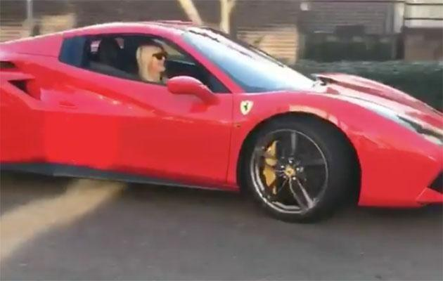 The blonde beauty bought a Ferrari. Source: Instagram