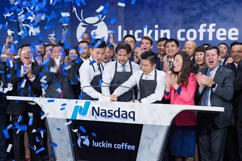Luckin coffee team in New York during its listing ceremony in May 2019. Photo: finance.china.com.cn