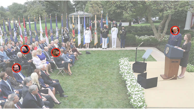 People who tested positive after attending Saturday`s ceremony, circled from left to right: Senator Mike Lee, University of Notre Dame president John Jenkins, Melania Trump and President Donald Trump