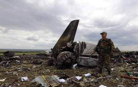 An armed pro-Russian separatist stands guard at the site of the crash of the Il-76 Ukrainian army transport plane in Luhansk June 14, 2014 REUTERS/Shamil Zhumatov
