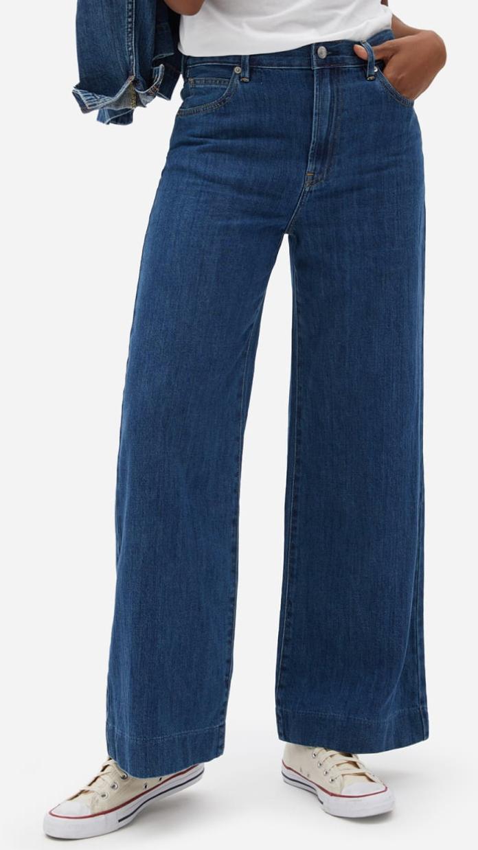 Everlane Super-Soft Wide Leg Jean in Dark Blue Wash