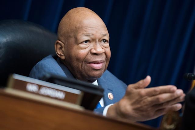 UNITED STATES - FEBRUARY 27: Chairman Elijah Cummings, D-Md., is seen during a House Oversight and Reform Committee hearing in Rayburn Building featuring testimony by Michael Cohen, former attorney for President Donald Trump, on Russian interference in the 2016 election on Wednesday, February 27, 2019. (Photo By Tom Williams/CQ Roll Call)